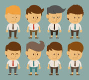 Set of businessman characters poses , office worker Royalty Free Stock Image