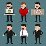 Set of businessman characters poses , office worker. Royalty Free Stock Image