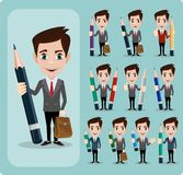 Set of businessman characters poses Stock Photography