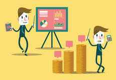 Set of businessman characters presentation growth graph and profit graph. Royalty Free Stock Photo