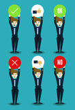 Set of businessman characters with true and false sign. Stock Photography