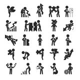 Set of businessman with chart , Human pictogram Icons Stock Images