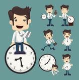 Set of businessman and clock Royalty Free Stock Image