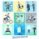 Set businessman collection business situations Royalty Free Stock Image