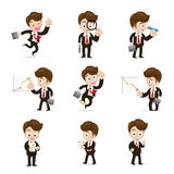 Set of 9 businessman in difference action   Stock Photos
