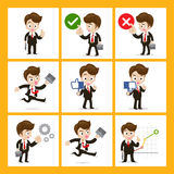 Set of 9 businessman in different actions Stock Photography