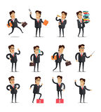 Set of Businessman in Different Poses Royalty Free Stock Images