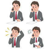 Expression of Businessman talking on the phone. Set of businessman expression talking on the phone Royalty Free Stock Photo