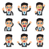 Set of businessman faces showing different emotions Stock Photos