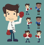 Set of businessman fight with boxing gloves characters poses Royalty Free Stock Images