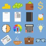 Set of businessman. Notebook, calculator, money, wallet, newspaper Royalty Free Stock Images