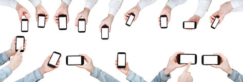 Set of businessman hands with mobile phones Royalty Free Stock Image