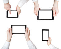 Set of businessman hands with tablet pc isolated Stock Photo
