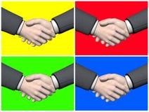 Set of businessman handshake - 3D render. Set of four different colors businessman handshake Royalty Free Stock Photography