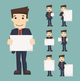 Set of businessman holding blank notes characters poses Royalty Free Stock Photos