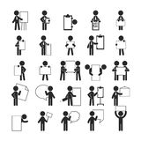Set of businessman holding blank notes , Human pictogram Icons Stock Photos