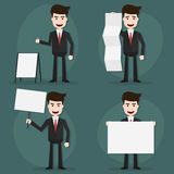 Set of businessman holding blank sign characters poses. Royalty Free Stock Images