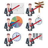 Set of businessman icons business man situations Flat style. Set Stock Photo