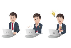 Set of businessman at laptop computer 2 Stock Images