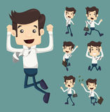 Set of businessman leaping characters poses Royalty Free Stock Photos