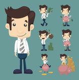 Set of businessman make money characters poses. Eps10 vector format Stock Images