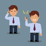 Set of businessman with phone in various action. Stock Photography