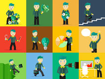 Set of businessman pose character concepts Royalty Free Stock Photos