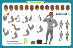 Set of heroes business man presenting in various action.Happy young black African men in business suit.People character. Set of businessman presenting in vector illustration