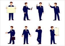 Set of businessman's poses. Various poses of office workers on a white background Stock Photography