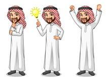 Set of businessman Saudi Arab Man getting ideas gesture. Set of businessman Saudi Arab man cartoon character design get great idea inspiration light bulb Stock Images