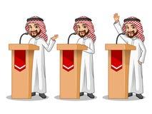 Set of businessman Saudi Arab Man giving a speech behind rostrum. Set of businessman Saudi Arab man cartoon character design politician orator public speaker Stock Image
