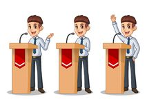 Set of businessman in shirt giving a speech behind rostrum. Set of businessman in shirt cartoon character design politician orator public speaker giving a talk Royalty Free Stock Photo