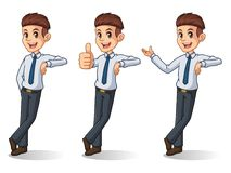 Set of businessman in shirt stand leaning against. Set of businessman in shirt cartoon character design stand leaning against, isolated against white background stock illustration