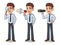 Set of businessman in shirt looking for poses. Set of businessman in shirt cartoon character design, looking through binoculars, holding magnifying glass, and royalty free illustration