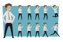 Set of businessman standing poses with isolated background. illu stock photo