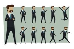 Set of businessman in suit and standing poses with isolated back stock images
