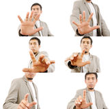 Set of Businessman Touching on the whiteboard. Royalty Free Stock Photography