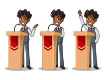 Set of businessman in vest giving a speech behind rostrum. Set of businessman in vest cartoon character design politician orator public speaker giving a talk Royalty Free Stock Photography