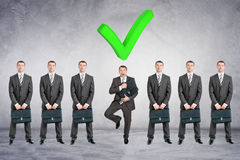 Set of businessmen with big tick Royalty Free Stock Photography