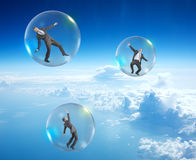 Set of businessmen in bubbles Stock Photos