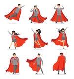 Set of businessmen and businesswomen Superheroes royalty free illustration