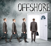 Set of businessmen come in door with word offshore Royalty Free Stock Photos