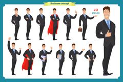 Set of businessmen presenting in various action.Happy man in business suit.People character. Standing business man for design, animation work.Isolated vector on vector illustration