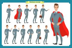 Set of businessmen presenting in various action.Happy man in business suit.People character. royalty free illustration