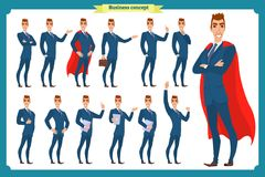 Set of businessmen presenting in various action.Happy man in business suit.People character. Standing business man for design, animation work.Isolated vector on royalty free illustration