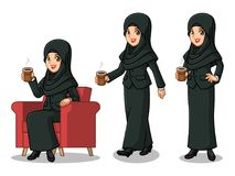 Set of businesswoman in black suit with veil making a break with drinking a coffee. Set of businesswoman in black suit with veil cartoon character design making stock illustration