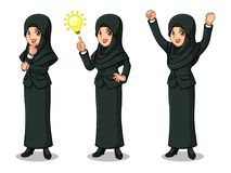 Set of businesswoman in black suit with veil getting ideas gesture. Set of businesswoman in black suit with veil get great idea inspiration light bulb, thinking Stock Images