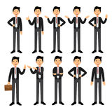 Set of Businesswoman character design. A collection of cartoon businesswoman. A nice woman in a business suit Stock Image