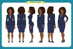 Set of Businesswoman character design. Front, side, back. Business girl. Cartoon style, flat vector isolated. African American. Set of Businesswoman character vector illustration