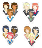 Set of businesswoman icon in group (in pencil line Royalty Free Stock Photography